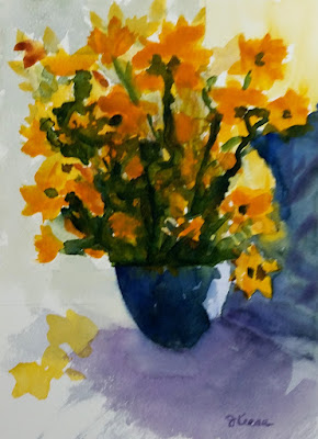 Watercolor - John Keese - Yellow Flowers in Vase