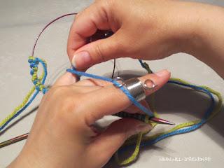 Doubleface stricken - Faden in Strickfingerring einfädeln und um kleinen Finger wickeln