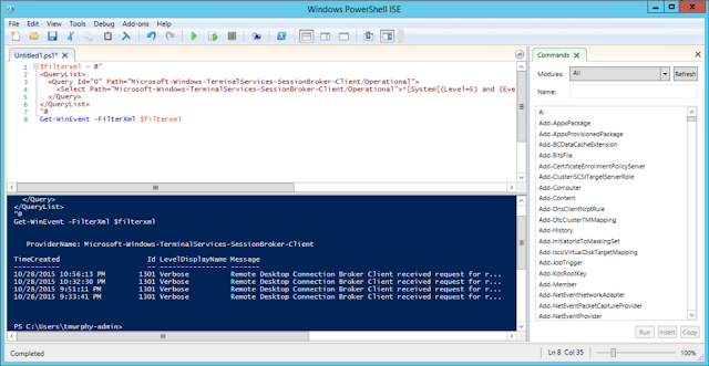 Grabbing the events with PowerShell
