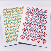 Set of two A6 geometric diamonds and zigzags stitching on card embroidery paper pricking patterns to decorate cards and notebooks.