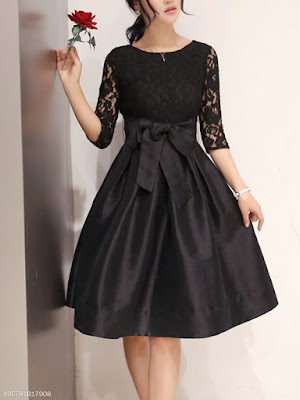 https://www.fashionmia.com/Products/round-neck-bowknot-hollow-out-plain-skater-dress-187594.html