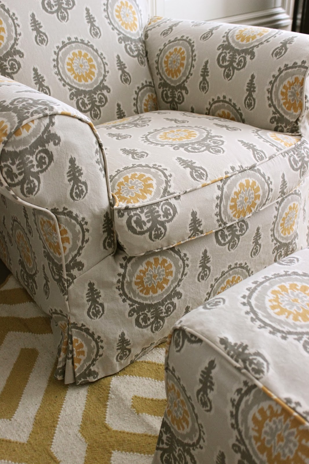 gray chair and ottoman slipcovers on high custom by shelley yellow bedroom