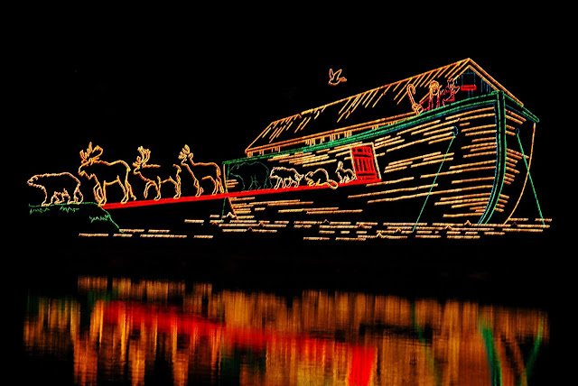 A Christmas Light display showing Noah's Ark.