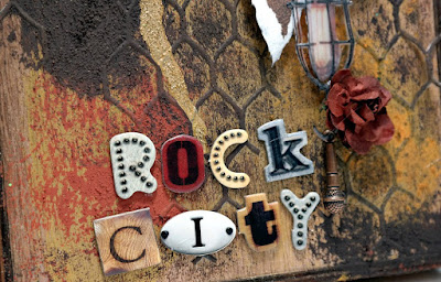 Detroit Rock City Wood Vignette Gritty Title Closeup by Dana Tatar for Scraps of Darkness