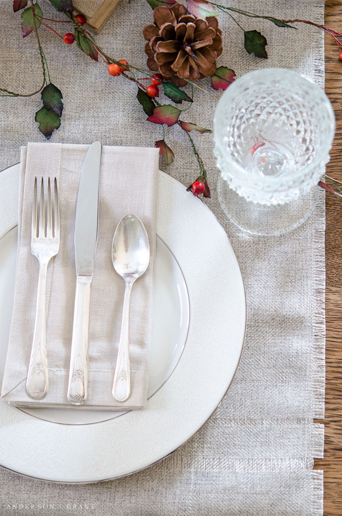 A simple way to set a fancy dinner table.  |  www.andersonandgrant.com