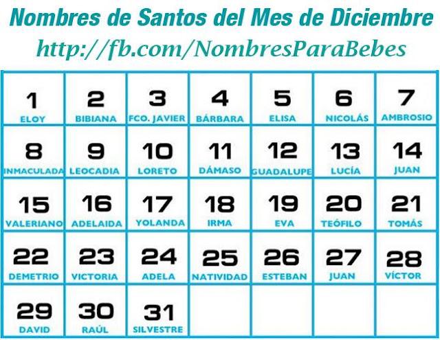 NOMBRES DE SANTOS DEL MES DE DICIEMBRE_nombresparabebesvarones