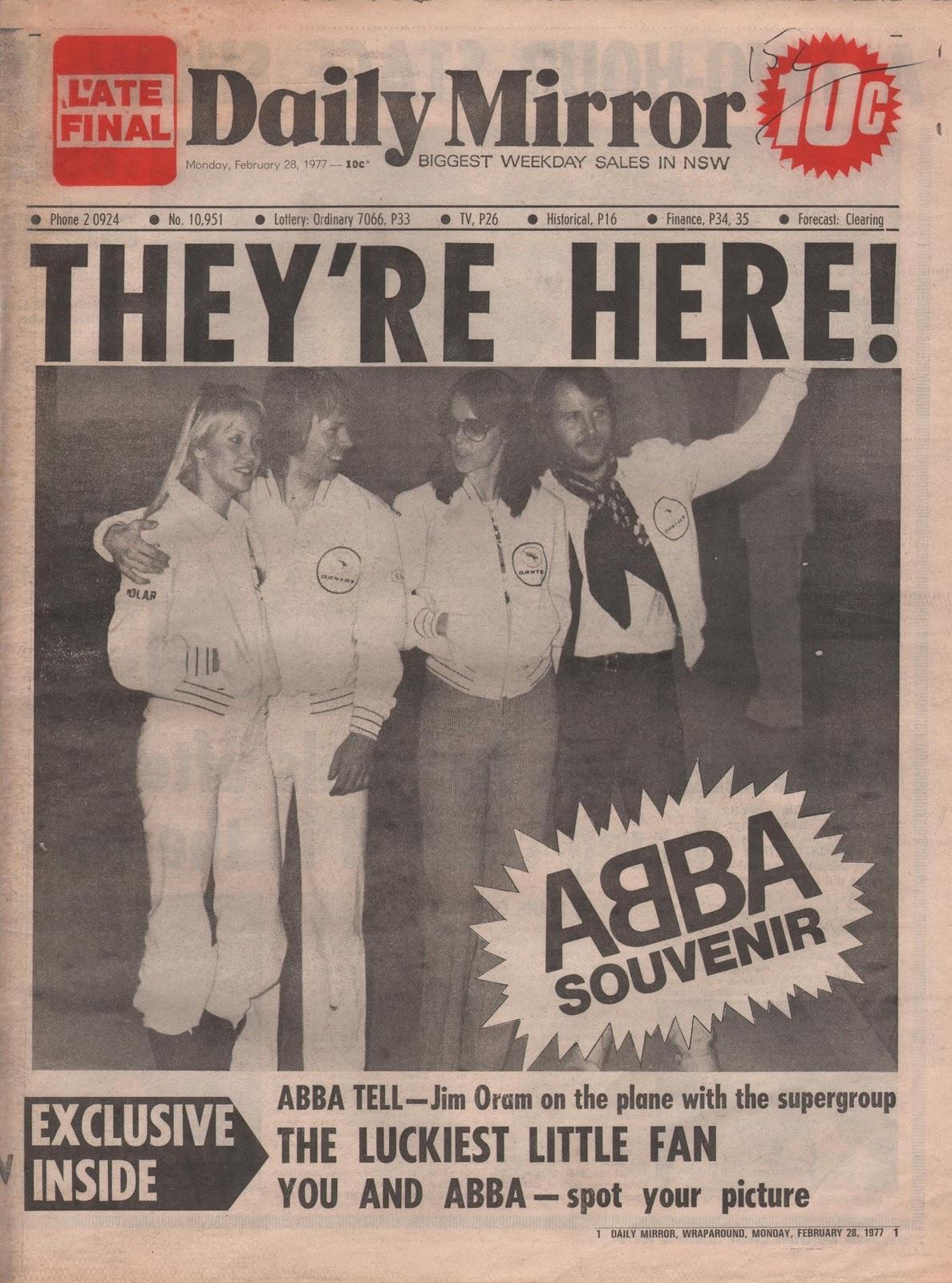 Abbafanatic abba they 39 re here 27 february 1977 australia for Sunday mirror