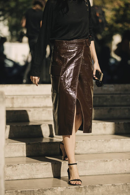 Brown midi leather skirt