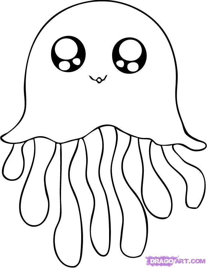 Cute jellyfish coloring pages for Cute sea animal coloring pages