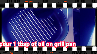 image of pouring oil on grill pan