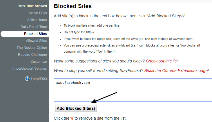 add website to block in Chrome