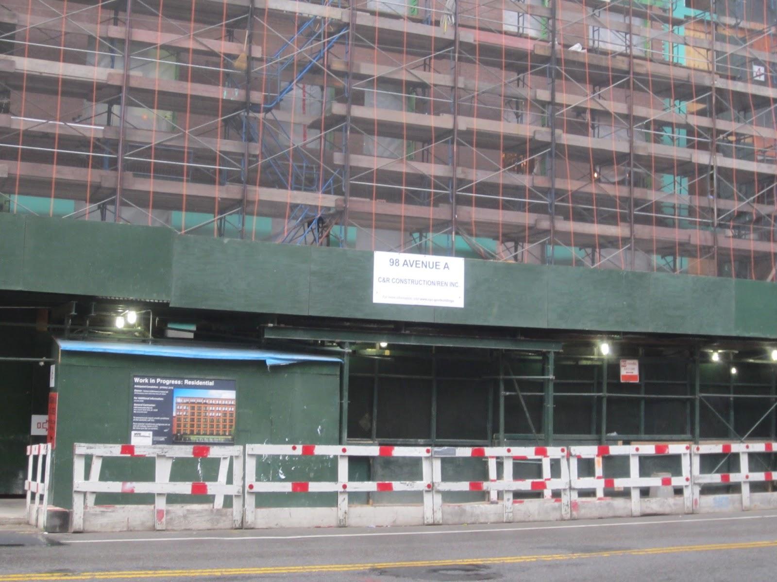 EV Grieve: Sidewalk bridge at 100 Avenue A looks so naked