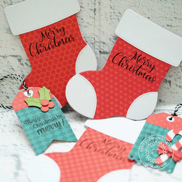 Sunny Studio Stamps: Santa's Stocking Build-A-Tag Petite Poinsettias Christmas Tags and Cards by Lexa Levana