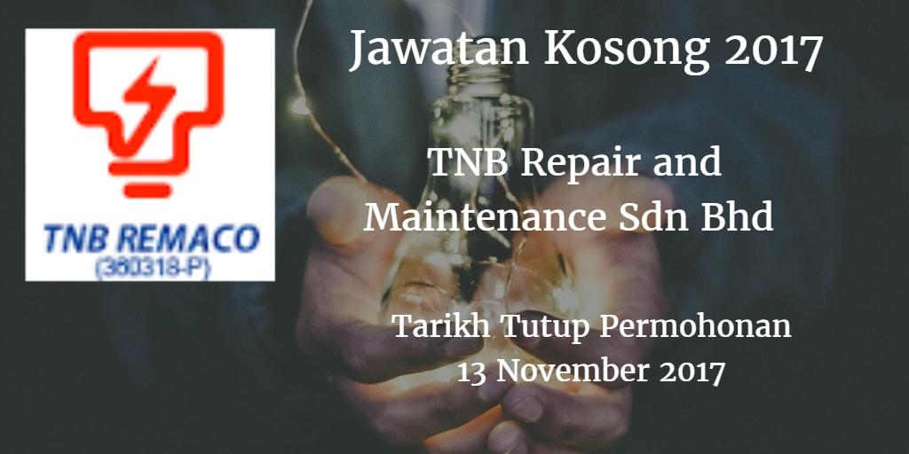Jawatan Kosong TNB Remaco 13 November 2017