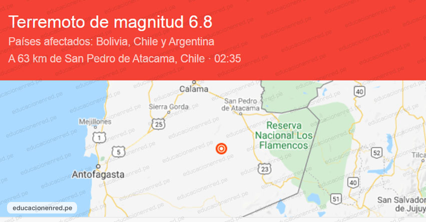 Terremoto en Chile de Magnitud 6.8 (Hoy Miércoles 3 Junio 2020) Sismo Temblor Epicentro - Atacama - Bolivia - Argentina - www.sismologia.cl