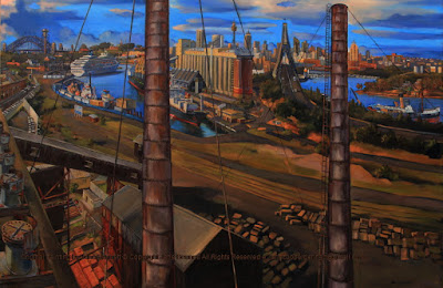 plein air oil painting of Sydney Harbour, from the Sydney Harbour Bridge to the Anzac Bridge from the roof of the Boiler House, White Bay Power Station by industrial heritage artist Jane Bennett
