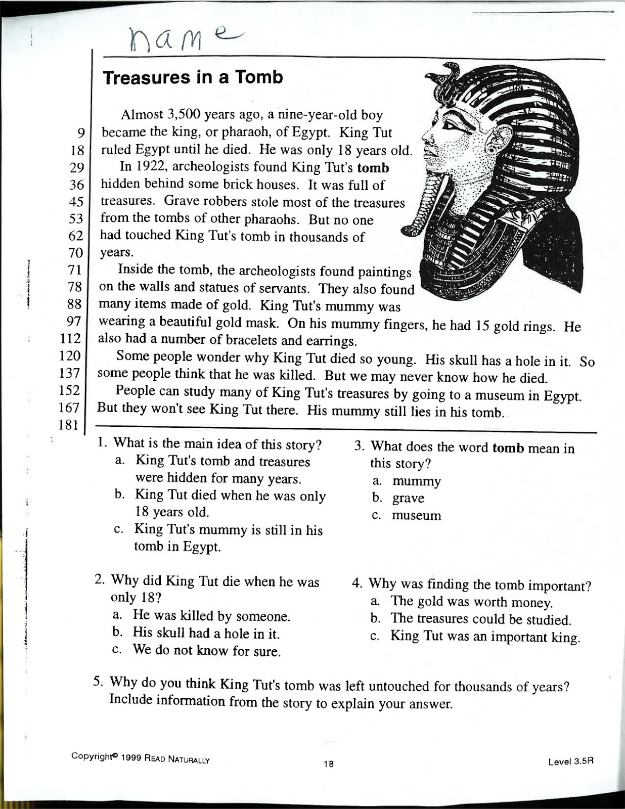 Homework help king tut
