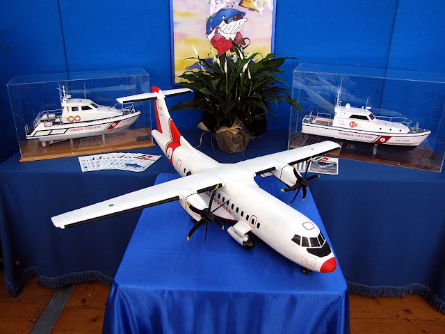Models of an ATR 42 MP and two patrol boats of the Coast Guard, Tuttovela, Livorno