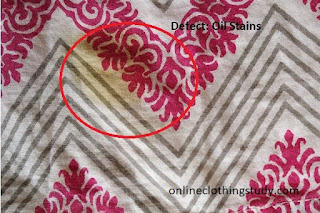 Oil stains in garment