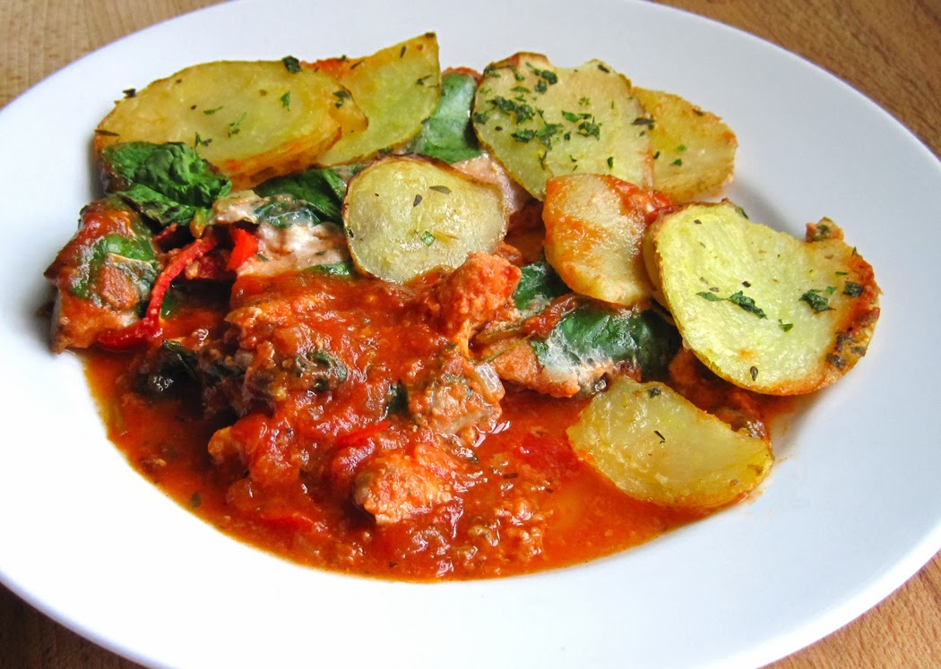Salmon and Potato Bake in a Mediterranean Tomato Sauce