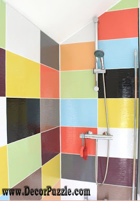 shower tile ideas, shower tile designs, tiling a shower, colorful shower tile