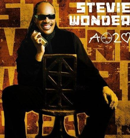 Foto de Stevie Wonder en portada de disco
