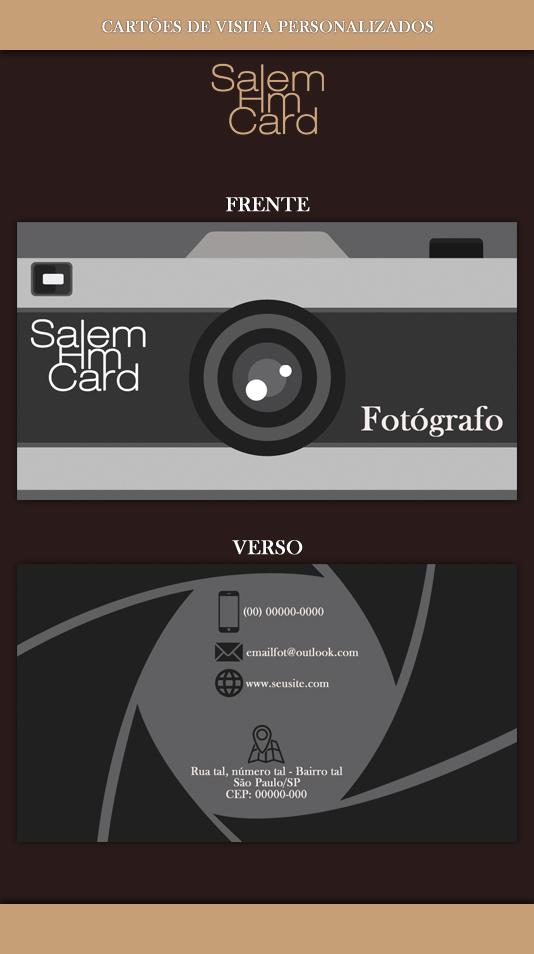 Cartão de Visita - Modelo 1 - Fotografia