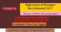 High Court of Manipur Recruitment 2017– Stenographer