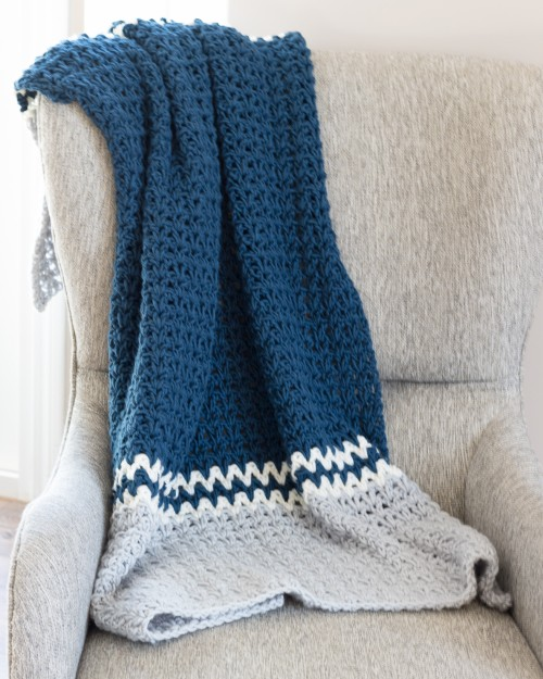 Easy V- Stitch Crochet Blanket - Free Pattern