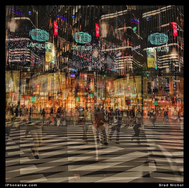 Tokyo plaza crossing at night in Ginza, Tokyo, Japan, multiple exposure, zebra crossing.