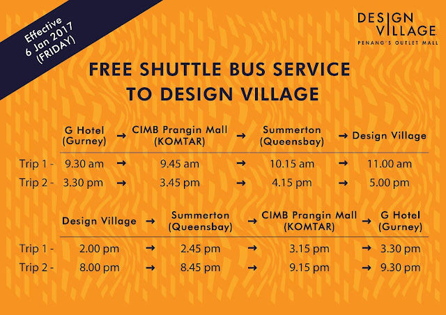 Free Shuttle Bus Service to Design Village Penang Outlet Mall