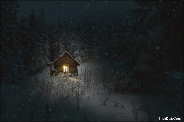 ảnh ngôi nhà đêm đông