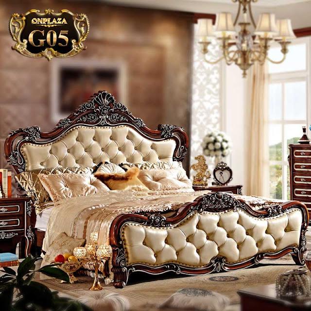 Giường ngủ gỗ đẹp bọc da phong cách tân cổ điển