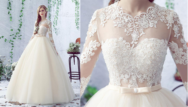 Lovely Bowknot Long Sleeves Lace-Up Floor Length Ball Gown Wedding Dress (11341958)