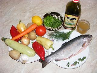 ingrediente peste pastrav cu legume gatit la aburi, retete culinare,