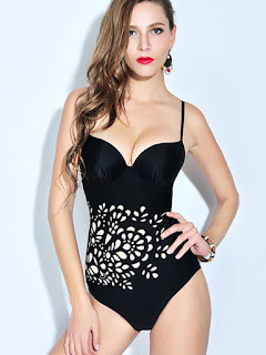 Black Cut-outs Straped Bandage One-Piece