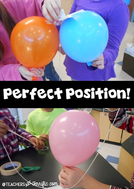 STEM Challenge: We tried all kinds of ways to attach the balloons. A straw taped to the balloon and then the string threaded through it was the method most used. Some kids attached a straw to card stock or index cards and then found a way to attach that to the balloon. Check this blog post for more details!