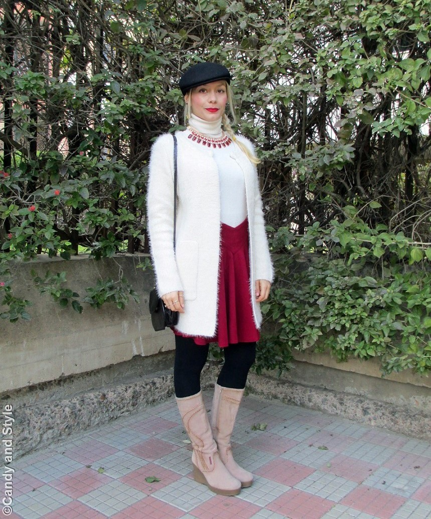 Beret+SweaterJacket+TurtleneckSweater+PleatedSkirt+Boots+CrossbodyBag+SideBraid+RedLips