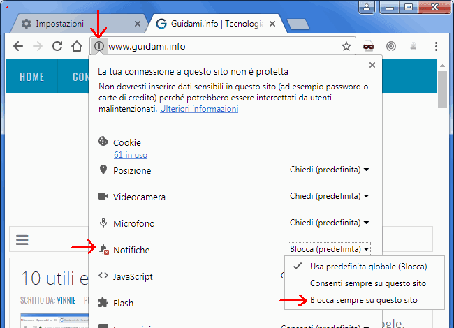 Info permessi sito internet Chrome disattivare le notifiche