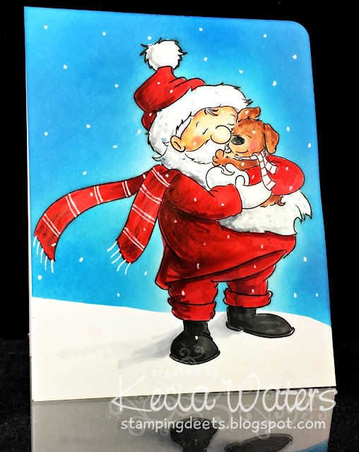 Sassy Cheryl's, Kecia Waters, Copic markers, Santa, Christmas, puppy