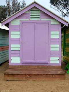 candy stripe beach hut