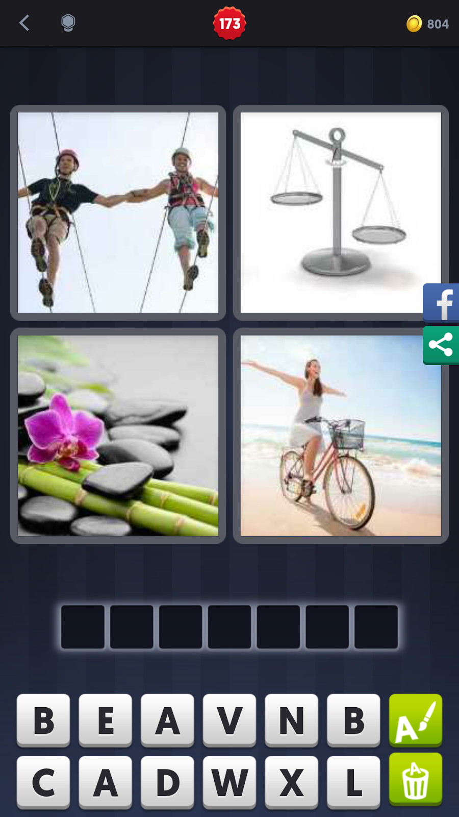 4 pics 1 word answers solutions level 173 balance keyword 7 letter word rope cycle rocks balance expocarfo Gallery