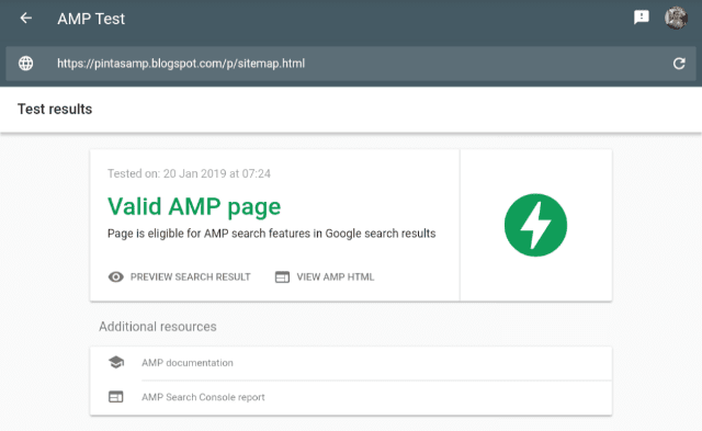 AMP valid Static page