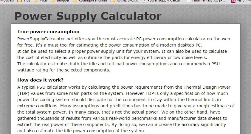Hitung Konsumsi daya Power Supply pada PC