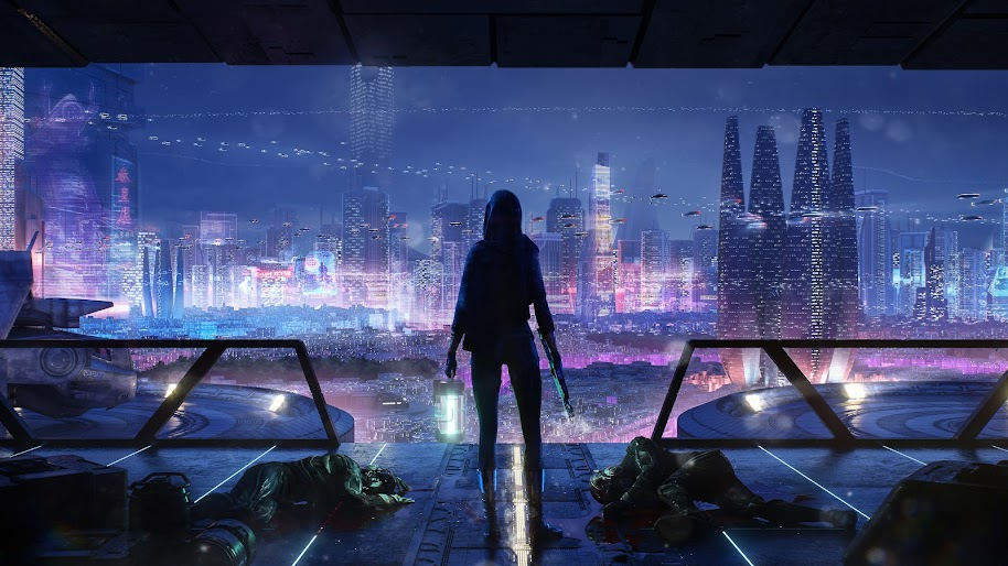 Sci-Fi, Night, City, Cityscape, 4K, #141
