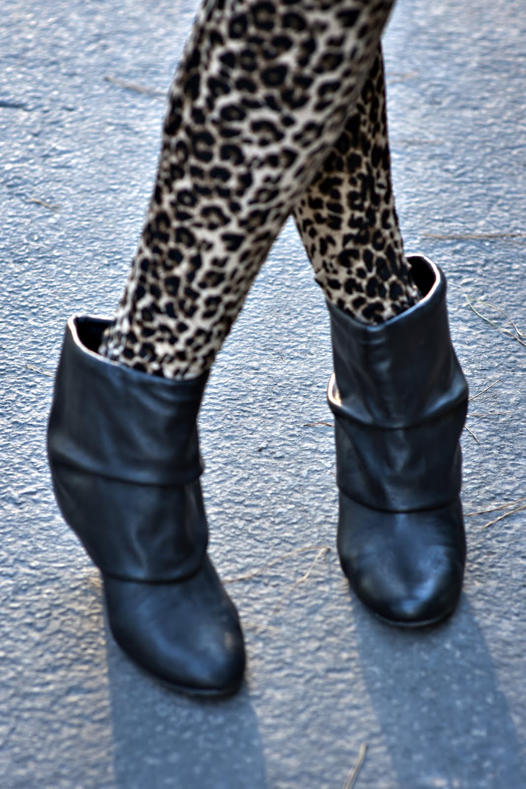 Black Booties, Leopard Print Leggings