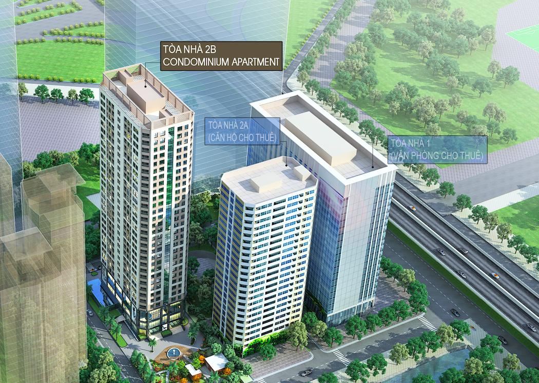 Toà nhà 2B là toà căn hộ 31 tầng để bán, gần phía Thăng Long Number one