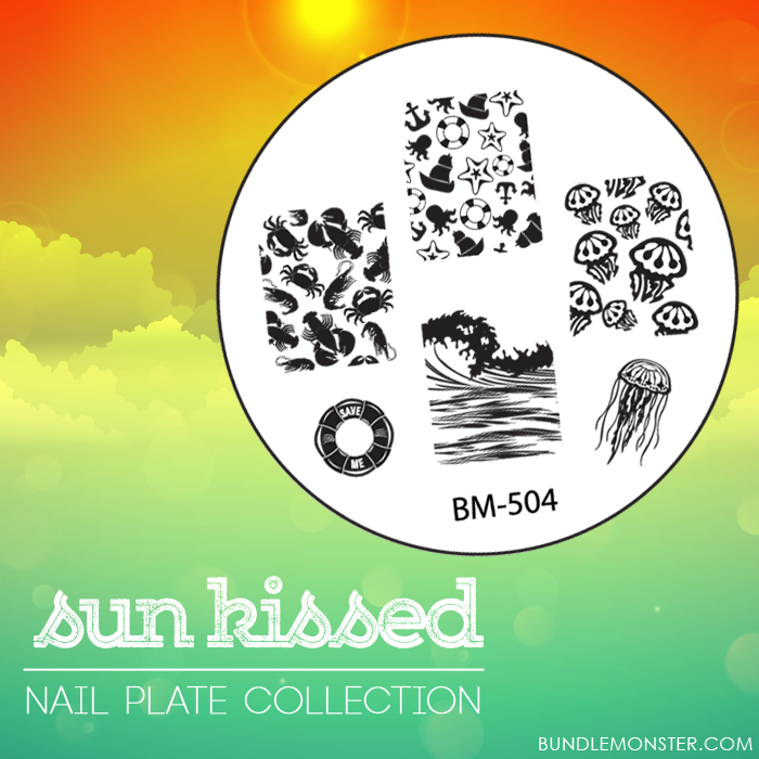 Lacquer Lockdown - Bundle Monster, Bundle Monster Sun Kissed Collection, new stamping plates 2014, new nail art stamping plates 2014, new nail art image plates 2014, nail plates, nail art stamping, nail art stamping blog, diy nail art, beach nail art, cute nail art ideas, stmaping