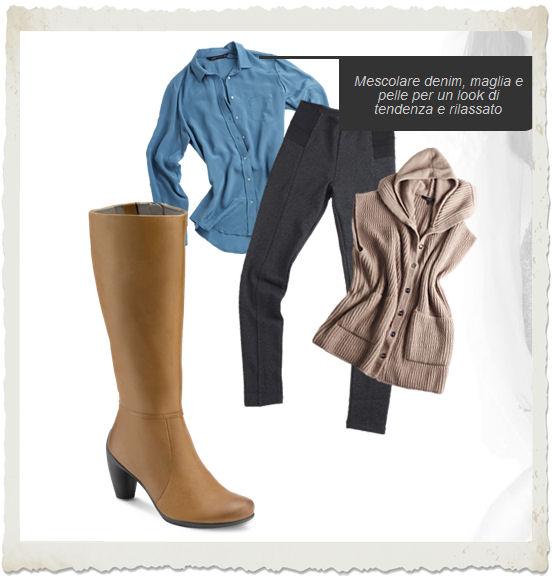 outfit denim, maglia e pelle con stivali ECCO