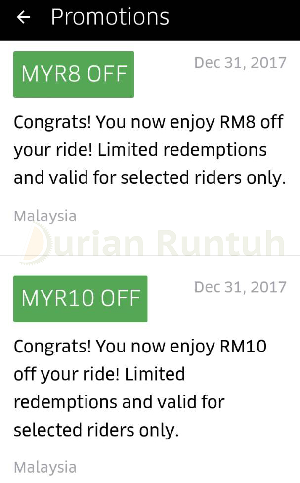 Uber Promo Code Rm10 Rm8 Free Rides Discount Offer In Malaysia Until 31 December 2017